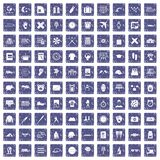 100 time icons set grunge sapphire. 100 time icons set in grunge style sapphire color isolated on white background vector illustration stock illustration