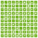 100 time icons set grunge green. 100 time icons set in grunge style green color isolated on white background vector illustration Royalty Free Stock Image