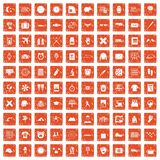 100 time icons set grunge orange. 100 time icons set in grunge style orange color isolated on white background vector illustration Stock Illustration