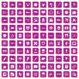 100 time icons set grunge pink. 100 time icons set in grunge style pink color isolated on white background vector illustration royalty free illustration