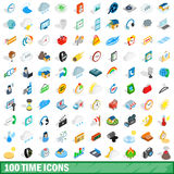 100 time icons set, isometric 3d style. 100 time icons set in isometric 3d style for any design vector illustration Stock Image