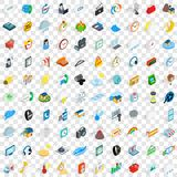 100 time icons set, isometric 3d style. 100 time icons set in isometric 3d style for any design vector illustration Royalty Free Stock Photos