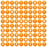 100 time icons set orange. 100 time icons set in orange circle isolated on white vector illustration Vector Illustration