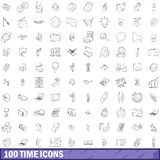 100 time icons set, outline style Stock Photos