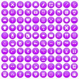 100 time icons set purple. 100 time icons set in purple circle isolated on white vector illustration Stock Photo