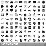 100 time icons set, simple style Royalty Free Stock Photo