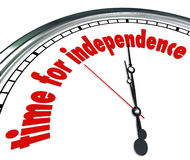 Time for Independence Clock Go Your Own Way Self Reliant. Time for Independence words on a white clock to illustrate a need to strike out on your own and become Stock Images