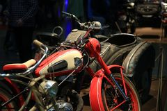 Exhibition stand of old motorcycles close-up royalty free stock images