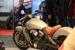 Left side of motorcycle Indian Scout 2016 gray. Time of the International motorcycle industry salon IMIS2018. Lenexpo. Saint-Petersburg, Russia stock photo