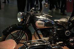 Old English motorcycle Norton Model 18 black, left side Royalty Free Stock Images