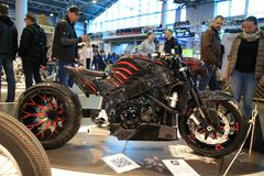 Russian Handbuilt Cup 2018. Custom motorcycle RELEASE OF DEMON and people near it Royalty Free Stock Photo