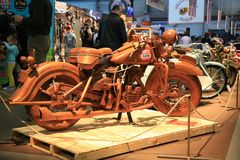 A wooden full-sized motorcycle. Side view. Time of the International motorcycle industry salon IMIS2018. Lenexpo. Saint-Petersburg, Russia royalty free stock images
