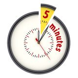 Five minutes on the clock. The time interval of five minutes on the analog clock. Isolated. 3D Illustration vector illustration