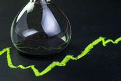 Time for invest or long term investment concept, hourglass or sandglass with black sand inside on stock market green line rising. Chart drawing with chalk on royalty free stock images