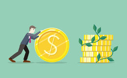 Time for Invest, Man With Gold Coin Royalty Free Stock Photos