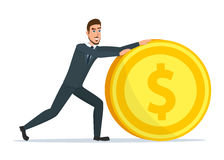 Time investmen concept, finance and money, investor and stock. Time for invest, man with gold coin. Time investmen concept, finance and money, investor and stock Stock Photography