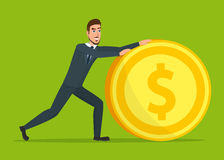 Time investmen concept, finance and money, investor and stock. Market, business man invest gold, old gold money, banking treasure, roll dollar invest Stock Photo
