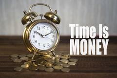 Free Time Is Money Concept - Golden Alarm Bell Clock Stock Photo - 103439700