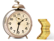 Time Is Money - Vintage Clock And Golden Coins Royalty Free Stock Photography