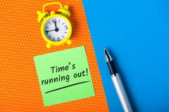 Free Time Is Running Out - Procrastination And Time Lose Concept. Time Is Money, Crisis Comes Royalty Free Stock Image - 176307516