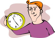 Time keeper. Man holding clock in anticipation of time Stock Photography