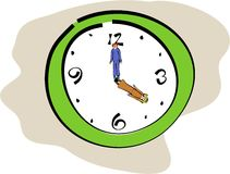 Time keepers. Business man and woman forming the hands of the clock Stock Photo
