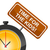 Time For Kids Shows Mother And Child And Offspring. Time For Kids Representing Mother And Child And Parent Royalty Free Stock Photography