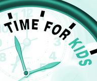 Time For Kiids Message Meaning Playtime Or Starting Family Stock Photos