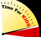 Time For Kiids Message Shows Playtime Or Starting Family Royalty Free Stock Photos