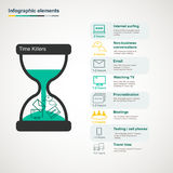 Time killers infographic. With hourglass,infographic elements and icons Royalty Free Stock Photo