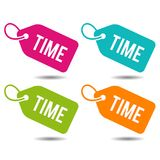 Time label. Flat Eps10 Vector Illustration. Four different colours Royalty Free Stock Image