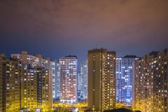 Time-lapce residential high buildings at night, outdoor. stock video