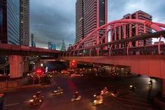 Time Laps Bangkok,Thailand:The traffic at twilight on Sathon. Time Laps Bangkok,Thailand :The traffic at twilight on Sathon road Royalty Free Stock Images