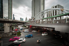 Time Laps Bangkok,Thailand:The traffic at twilight on Sathon. Road Stock Photography