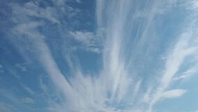 Time laps. Fast-moving clouds against a blue sky. Two layers of cloudiness. Cumulus clouds move lower and faster in the
