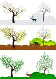 Time laps in the forest. Vector illustration showing time laps in the nature Stock Photo
