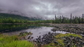 Time-Laps Lake On Lava Valley. Royalty Free Stock Photo