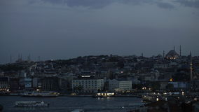 Time laps view on the center of Istanbul and the Bosporus Strait in the evening stock footage