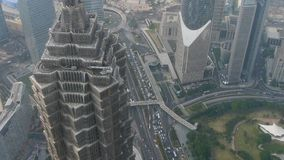 Time lapse,aerial view of high-rise buildings in Shanghai,China,urban traffic. stock video footage