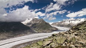 Time lapse Aletsch glacier stock video footage