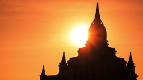 Time lapse of amazing sunrise over ancient Buddhist Temple silhouette at Bagan. Myanmar (Burma) stock video footage