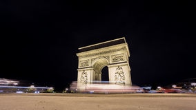 Time Lapse of Arc de Triomphe at night in Paris. Wide angle Time Lapse of Arc de Triomphe at night, Paris stock video
