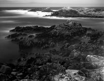 Time Lapse Asilomar State Marine Reserve. Black and White Soft focus slow shutterspeed Asilomar State Marine Reserve California Royalty Free Stock Images