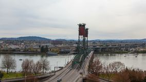 Time lapse of auto traffic on Hawthorne bridge Portland Or with Mt. hood 4k uhd stock footage