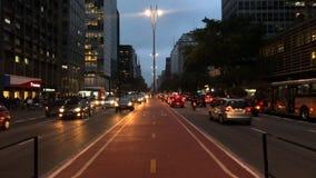 Time lapse of avenida Paulista avenue, Sao Paulo, Brazil. Rush hour in august, 2017. stock video