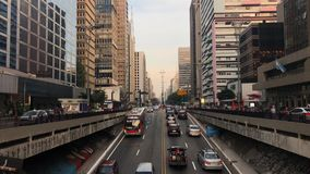 Time lapse of avenida Paulista avenue, Sao Paulo, Brazil. Rush hour in august, 2017. Time lapse of avenida Paulista avenue, Sao Paulo, Brazil. Rush hour in stock video footage