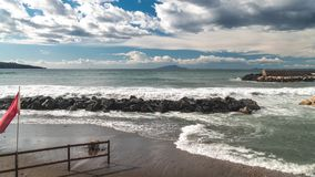Time lapse background, sea waves, storm, Rain clouds over beautiful Sorrento Bay in Italy stock video footage