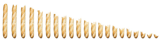 Time lapse - Baguette being eaten. Isolated on a white background Stock Image