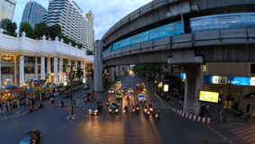 Time lapse of Bangkok busy streets in the evening. BANGKOK, THAILAND - MAY 19: Time lapse of Bangkok busy streets in the evening on May 19, 2014 in Bangkok stock footage