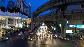 Time lapse of Bangkok busy streets at night. BANGKOK, THAILAND - MAY 19: Time lapse of Bangkok busy streets at night on May 19, 2014 in Bangkok, Thailand stock video